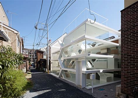 house see through transparent home glass dwelling puts urban life on