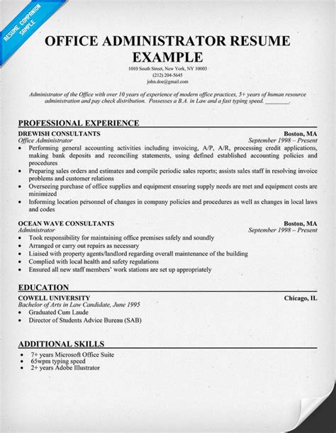 resume format for admin officer office administrator resume sles recentresumes