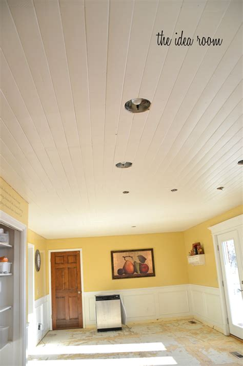 White Wood Ceiling Planks How To Diy A Wood Plank Ceiling