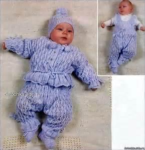 ажурный костюмчик для новорожденной спицами