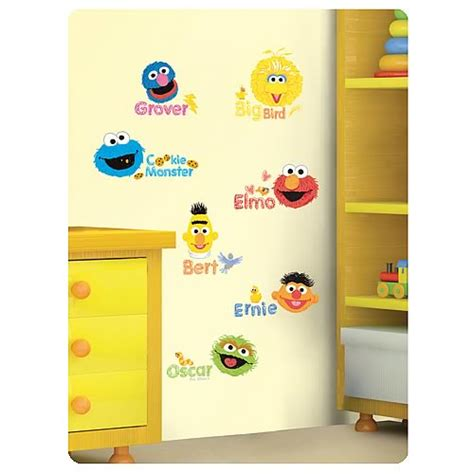 sesame wall mural sesame scribble characters peel and stick wall decals roommates sesame wall