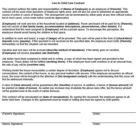 child care agreement template live in child care contract form template