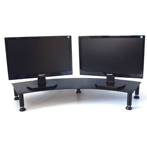 Corner Desk With Monitor Platform Dual Monitor Stand Fluteline The Home Of Office Ergonomics