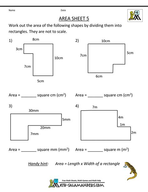 Area Of Shapes Worksheet by Area Worksheets
