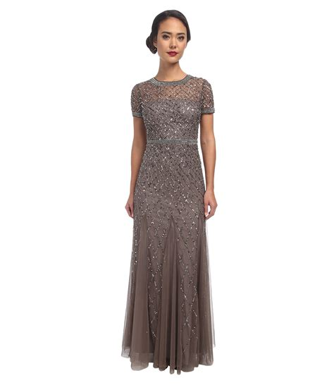 beaded cap sleeve gown papell cap sleeve fully beaded gown in gray lyst