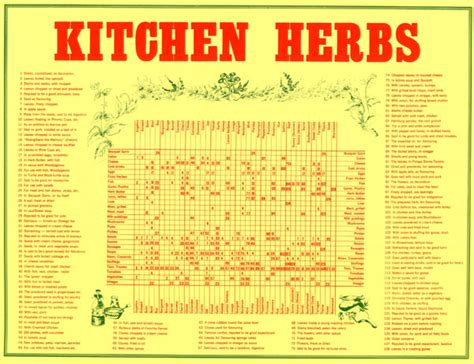 spice herb kitchen chart by amalgamarts on etsy kitchen herbs chart folded in a4 envelope all rare herbs