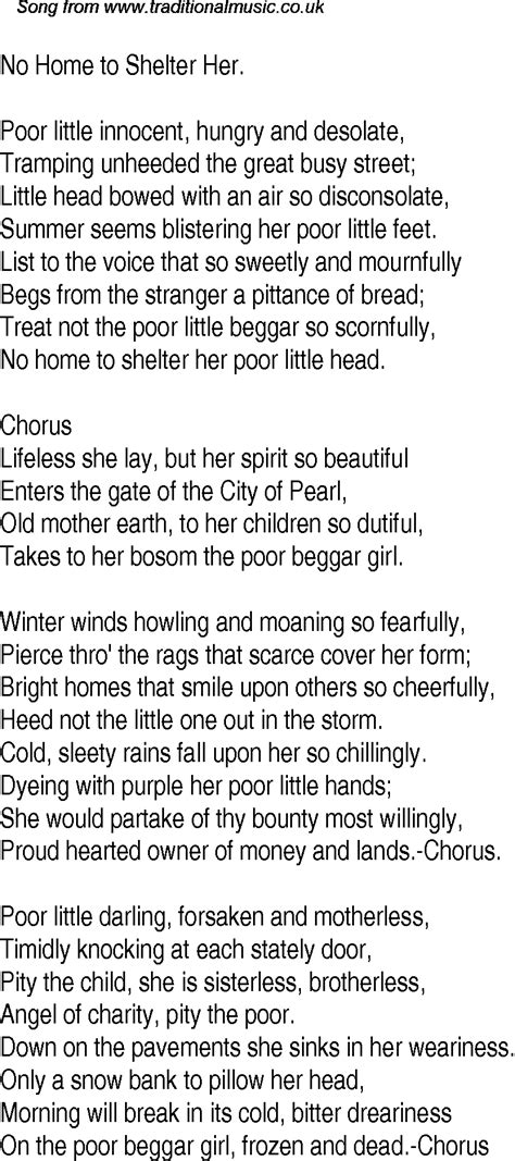 Old Time Song Lyrics for 24 No Home To Shelter Her