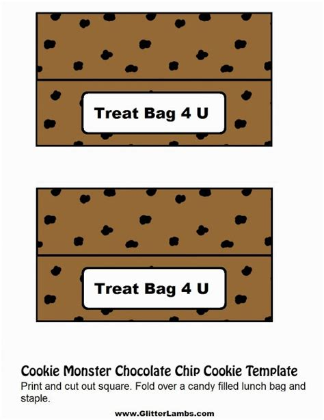 Glitter Lambs Cookie Monster Food Label Cards And Free Printable Chocolate Chip Cookie And Milk Treat Label Template