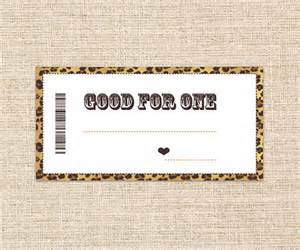 printable blank coupons gold brown leopard skin gift for