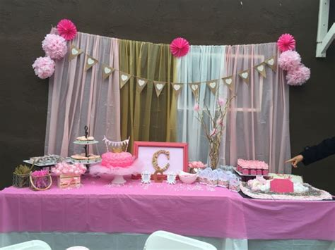 baby shower table spread pink gold white hotpink