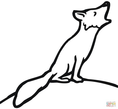 red fox howling coloring page free printable coloring pages