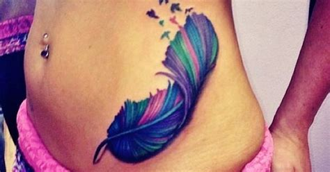 tattoo feather color color feather tattoo with birds love the colors just