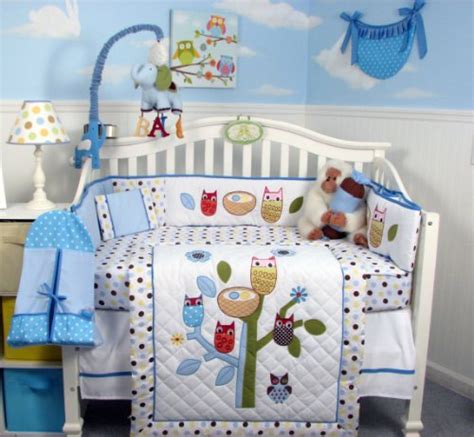 Owl Baby Crib Set by Soho Blue Owl Tree Baby Crib Nursery Bedding Set 13 Pcs