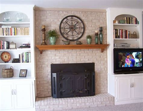 how to decorate built in shelves exciting brick fireplace decorating ideas with black