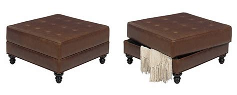 Square Storage Bench Square Leather Upholstered Storage Cocktail Ottoman Club