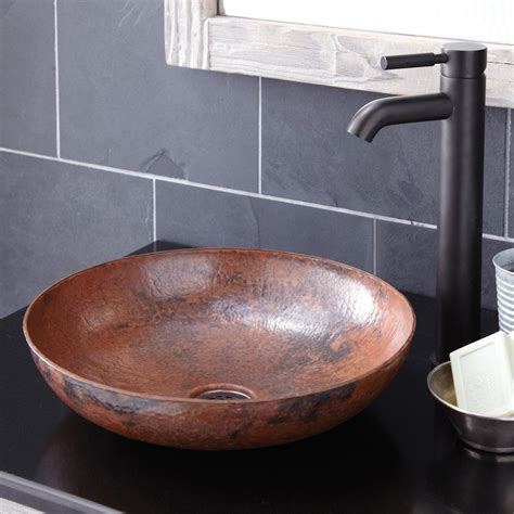 maestro sonata petit copper bathroom vessel sink native