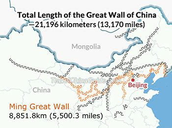 how long is a section of land how long is the great wall of china total length is 21 196km