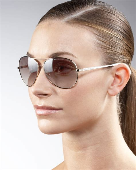 Marc Jcob marc by marc aviator sunglasses in brown lyst