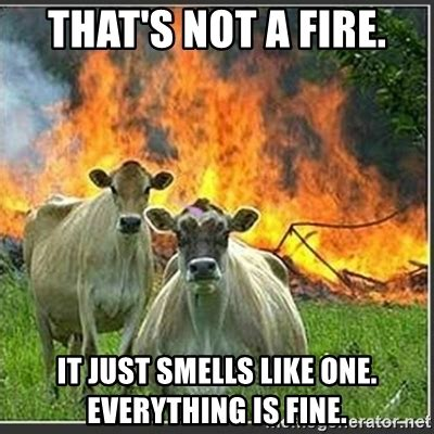Everything Is Fine Meme - that s not a fire it just smells like one everything is fine evil cows meme generator