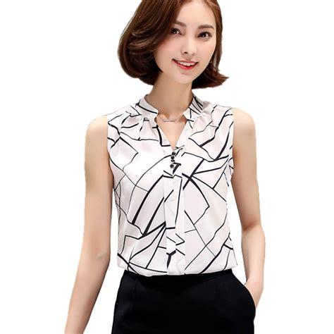 Big Sale Basic Chiffon Blouse Terhemat new summer chiffon blouse printed sleeveless blouse white striped blouses shirts