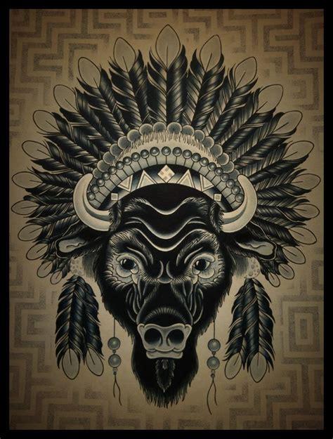 buffalo head tattoo buffalo headdress but i want more color