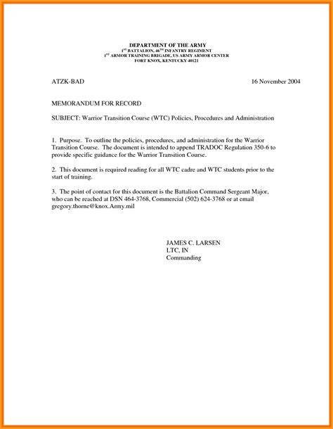5 memorandum for record cook resume