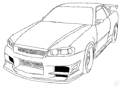 nissan skyline gtr drawing sketch coloring page