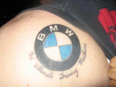 bmw logo tattoo on the shoulder perfect lady