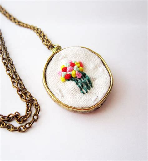 Necklace Kalung Choker Embroidered Embroidery embroidered flower necklace knots multicolor