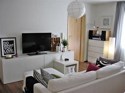 white modern living room with besta media storage