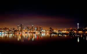 seattle lights usa washington seattle cities lights reflection