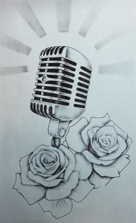 microphone tattoo sketch pictures to pin on pinterest