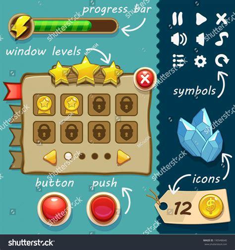 game design resources interface game design resource bar resource stock vector