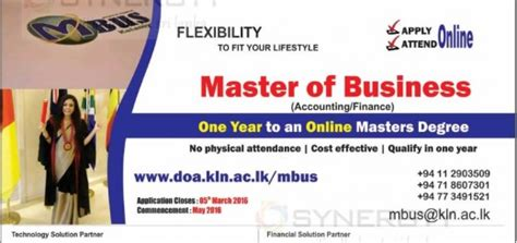Of Colombo Mba Programme by Master In Business Administration Mba Programmes In Sri