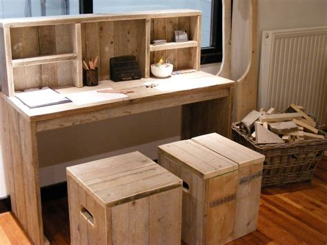 buro steigerhout bureau tafel oud gebruikt steigerhout met opzet kast