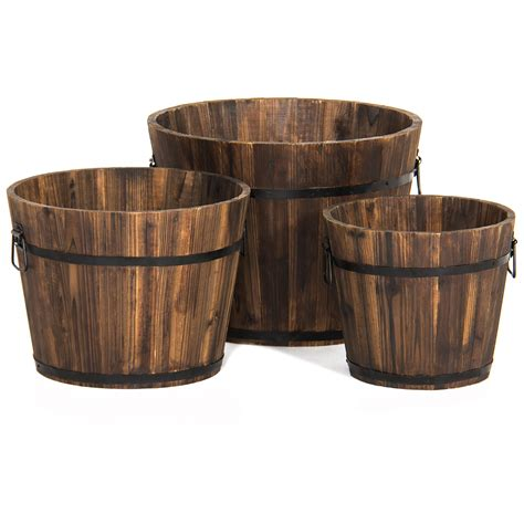 best planters best choice products indoor outdoor set of 3 wood barrel