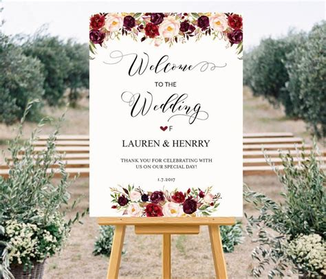 Printable Wedding Welcome Sign Templates Floral Wedding Sign Burgundy Rose Wedding Large Diy Wedding Signs Templates