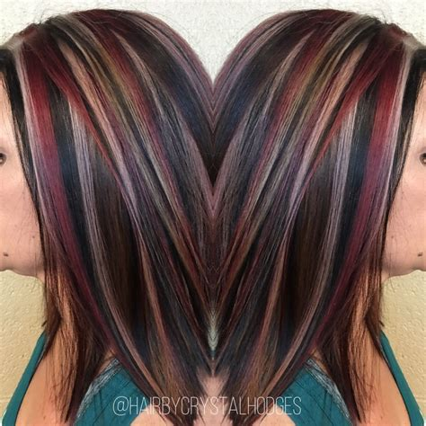 chunking or highlighting short brown hairstyle chunky highlight red blonde brown http niffler elm