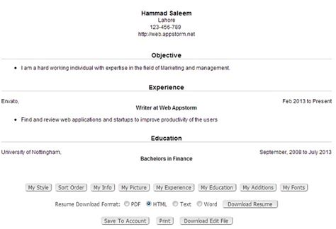 Create Resume Online Free by Resume Creator Free English Cv