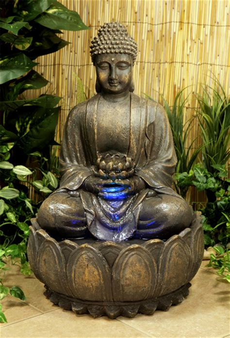 blossoming buddha water feature with lights h57cm 163 99 99