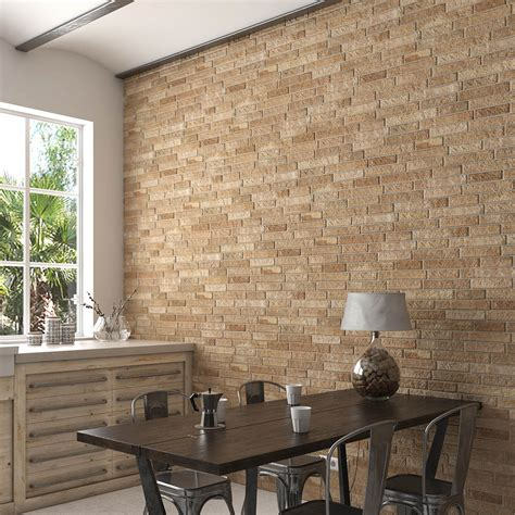 michigan ocre rustic brick effect tiles   mm