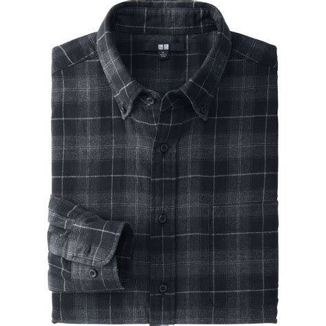 Uniqlo Flannel Shirt uniqlo flannel check sleeve shirt in gray for gray lyst