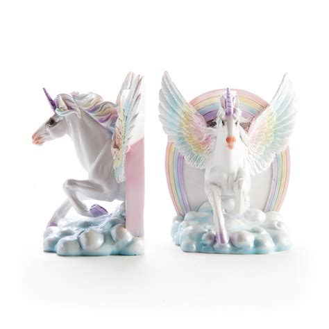 Personalised Home Decor Flying Unicorn Bookends Filly And Co Horse Gifts