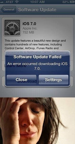 ios  software update failed