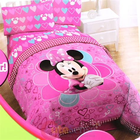 Minnie Mouse Bedding Set Disney Minnie Mouse Comforter Size 4pcs Sheet Pillow Bedding Set Pink Ebay