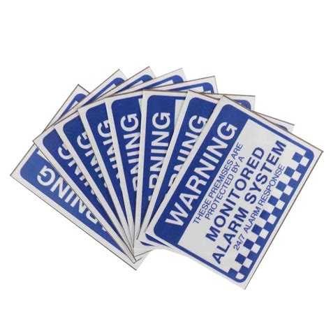 printable stickers waterproof 8pcs alarm system monitored warning security stickers