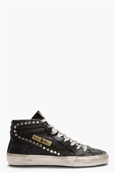 golden goose black sneakers lyst golden goose deluxe brand black leather studded