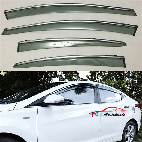 door side window visors wind deflector sun guards stainless trim shield 4pcs for hyundai