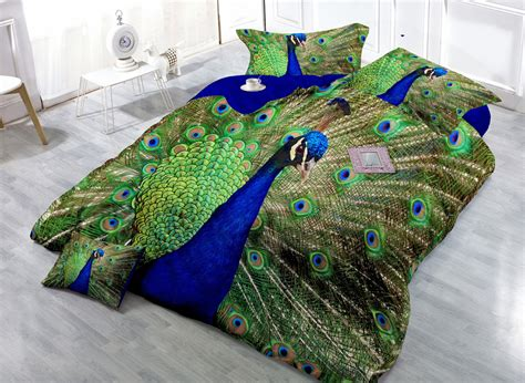 peacock duvet cover 3d peacock digital print bedclothes 4 pieces satin