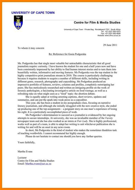 letter of recommendation template for college admission reference letter exle reference letter for